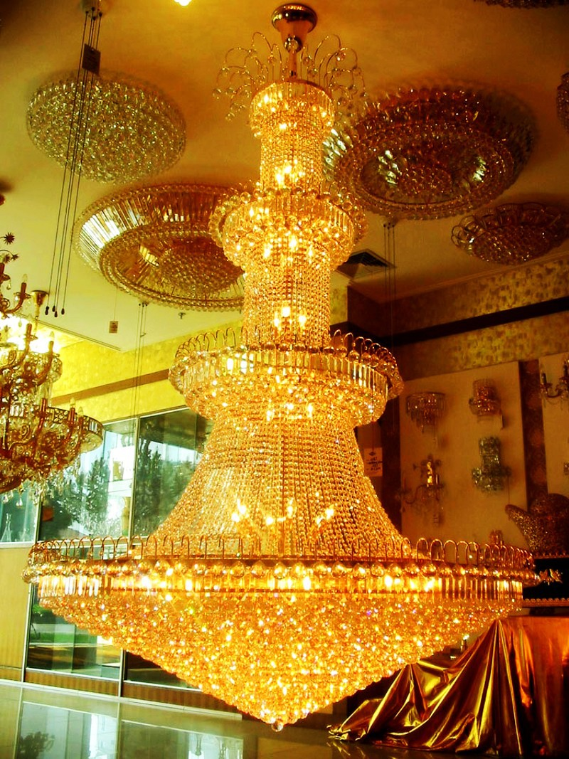 Crystal Chandelier Light  Stairs Foyer Crystal Stair Lights Golden Pendant Lamp Empire Hotel Chandelier Crystal stair light