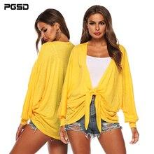 PGSD Summer Solid fashion simple Women clothes Irregular loose bat sleeve bowknot Sunscreen Shirt yellow blouse Cardigan female