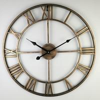 Vintage Large Wall Clock Modern Design Decorative Living Room Mute European Retro Metal Clocks Roman Wall Watch Home Decor 40cm