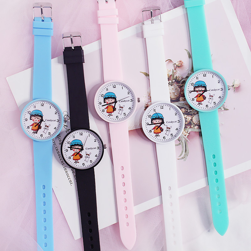 New Cartoon Children's Watch Sakura Momoko Candy Color Silicone Students Watch Kids Watches montre enfant Cute Girl Watch Clock(China)