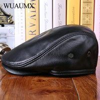 Wuaumx High Quality Genuine Cow Leather Berets For Men Winter Beret Hats With Ear flap Cowskin Duckbill Cap Warm Russian Hats
