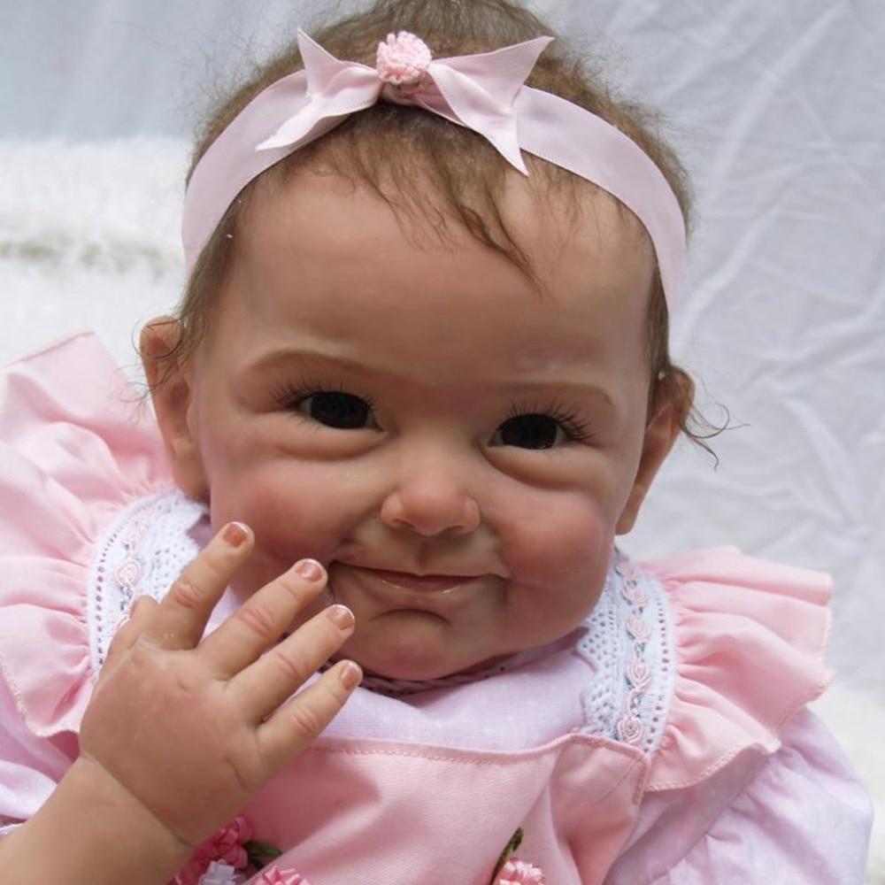 55CM Smile Girls Reborn Doll Realistic Lifelike Silicone Newborn Baby Doll Play House Toy Exquisite Birthday Gifts For Girls55CM Smile Girls Reborn Doll Realistic Lifelike Silicone Newborn Baby Doll Play House Toy Exquisite Birthday Gifts For Girls