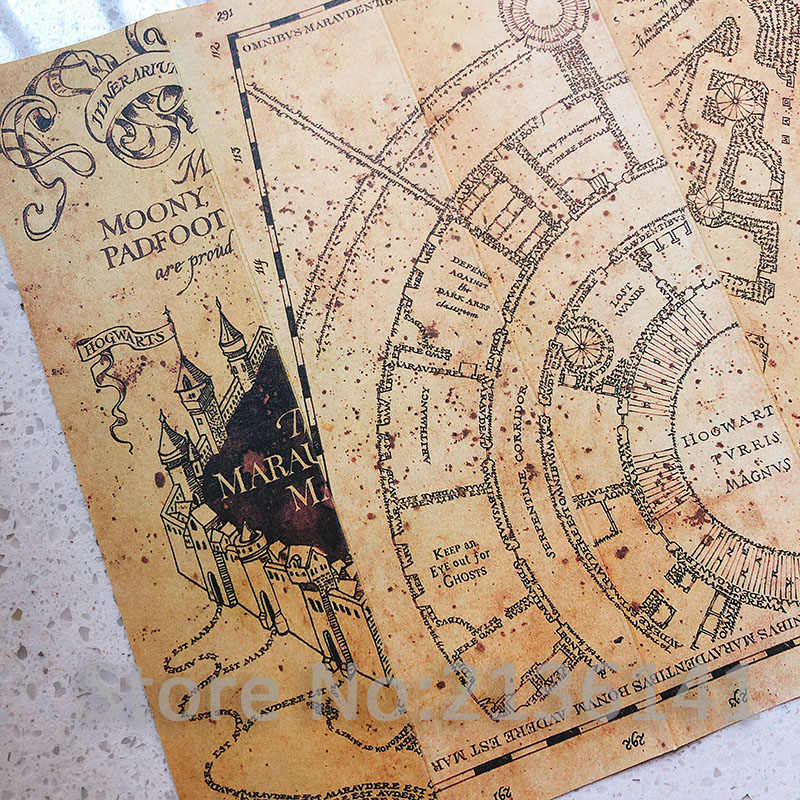 The Marauder's Map/Hogwart Letter/Platform 9 3/4 Ticket Harry Wizard Ron Hermione King's Cross Railway Station