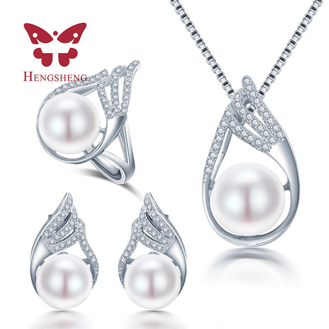 HENGSHENG Rocket Necklace/Earring/Ring Pearl Jewelry Set For Natural Freshwater Pearl Jewelry Sets For Women Necklace