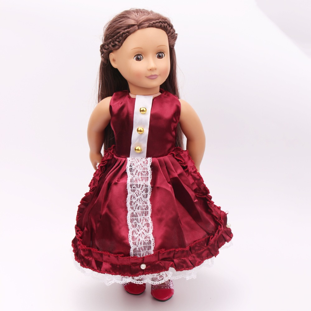 Fashion Style American Girl Doll Clothes of Burgundy Princess Doll Dress for 18 American Girl Doll and Other 18 Girl Dolls