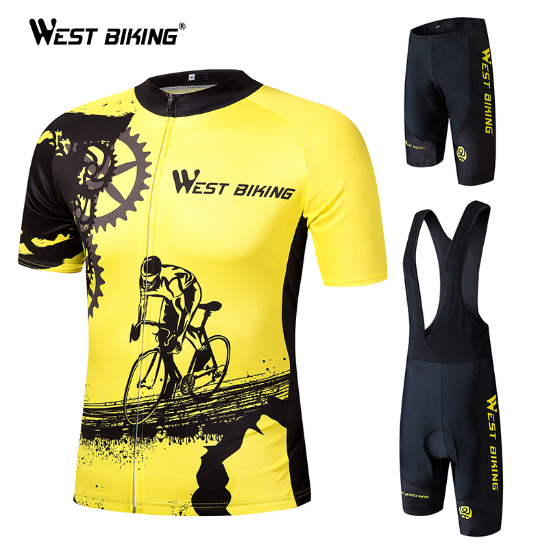 WEST BIKING 2018 Pro Summer Cycling Jersey Set Mountain Bike Clothing MTB Bicycle Clothes Wear Ropa Ciclismo Men Cycling Sets