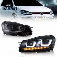 الشحن مجانا مصنع vland frontlight ل vw golf 6 mk6 h7 المصباح r20 led headlight drl نقل الإشارات d2h hid bi زينون