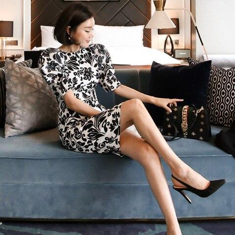 Women Office Lady Dresses  Bodycon Short Sleeve 2019 Summer Slim Vintage Elegant Dress Karachi