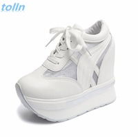 2017Women Shoes Sexy Wedges Super High Heels 12CM Lace Up White Casual Shoes Women S Party