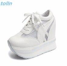 2017 Женская обувь пикантные сапоги на танкетке очень высокий каблук 12 см на шнуровке Повседневная обувь; Белый Цвет Женская обувь для вечеринок; Chaussure Femme; обувь на платформе