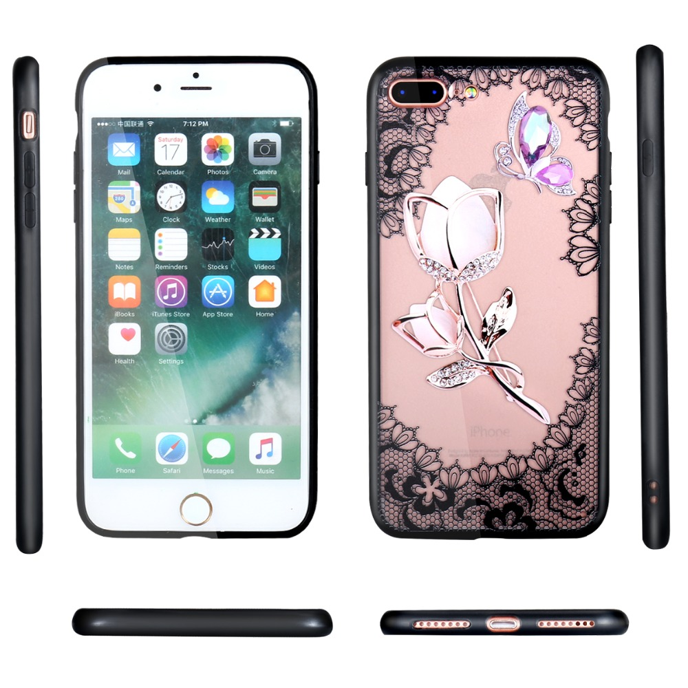 For OPPO F9 F7 F5 F3 F1S Case Fashion Lace Flower Hard PC+TPU Cases