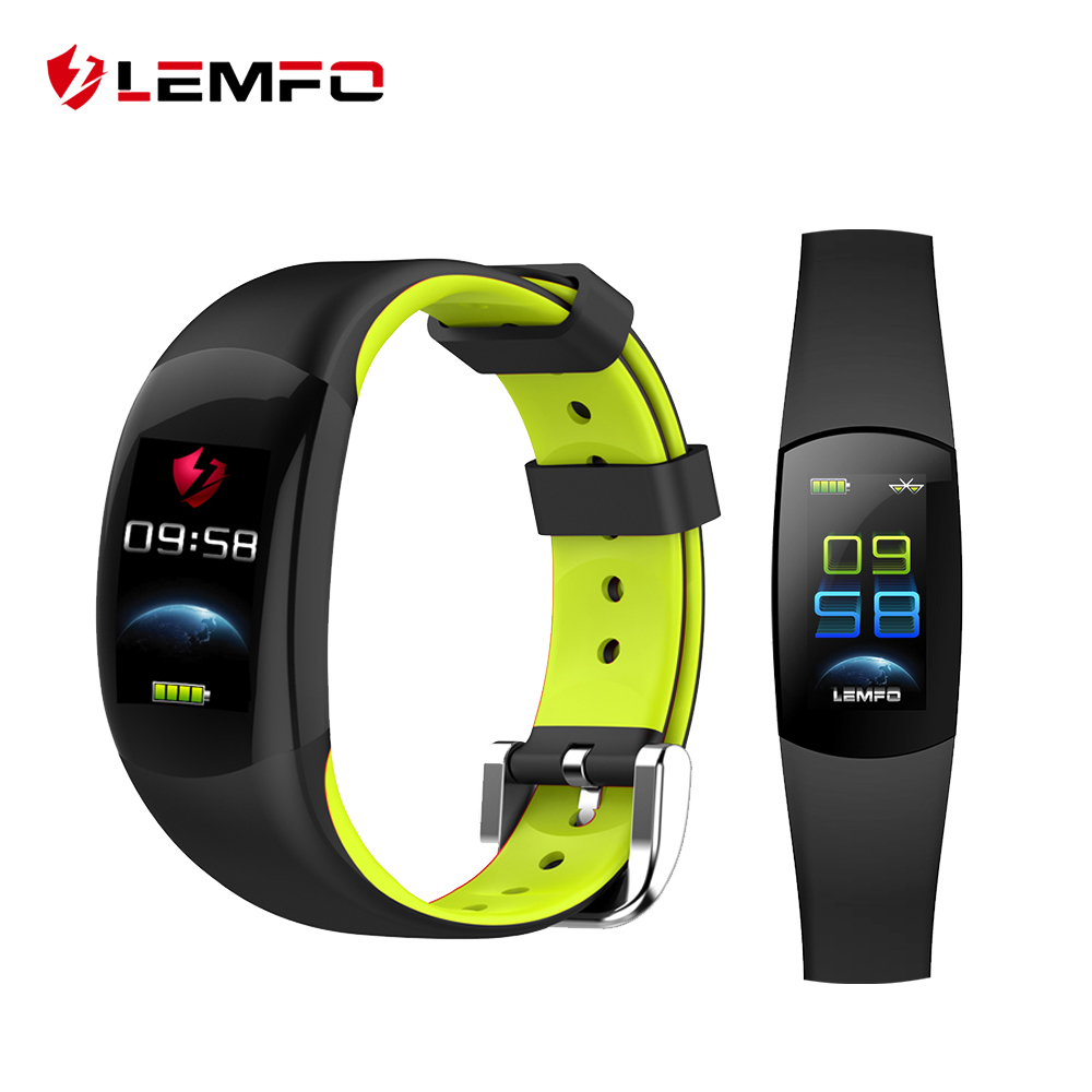 LEMFO Smart Wristband LT02 Color LCD HD screen Heart Rate Activity Tracker Call Message Reminder Waterproof double color strap