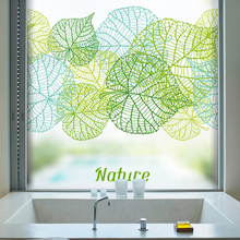 Customize Static Cling Frosted Opaque Stained Glass Sticker Window Film Decorative Privacy Digital printing BLT65 Fresh Leaves