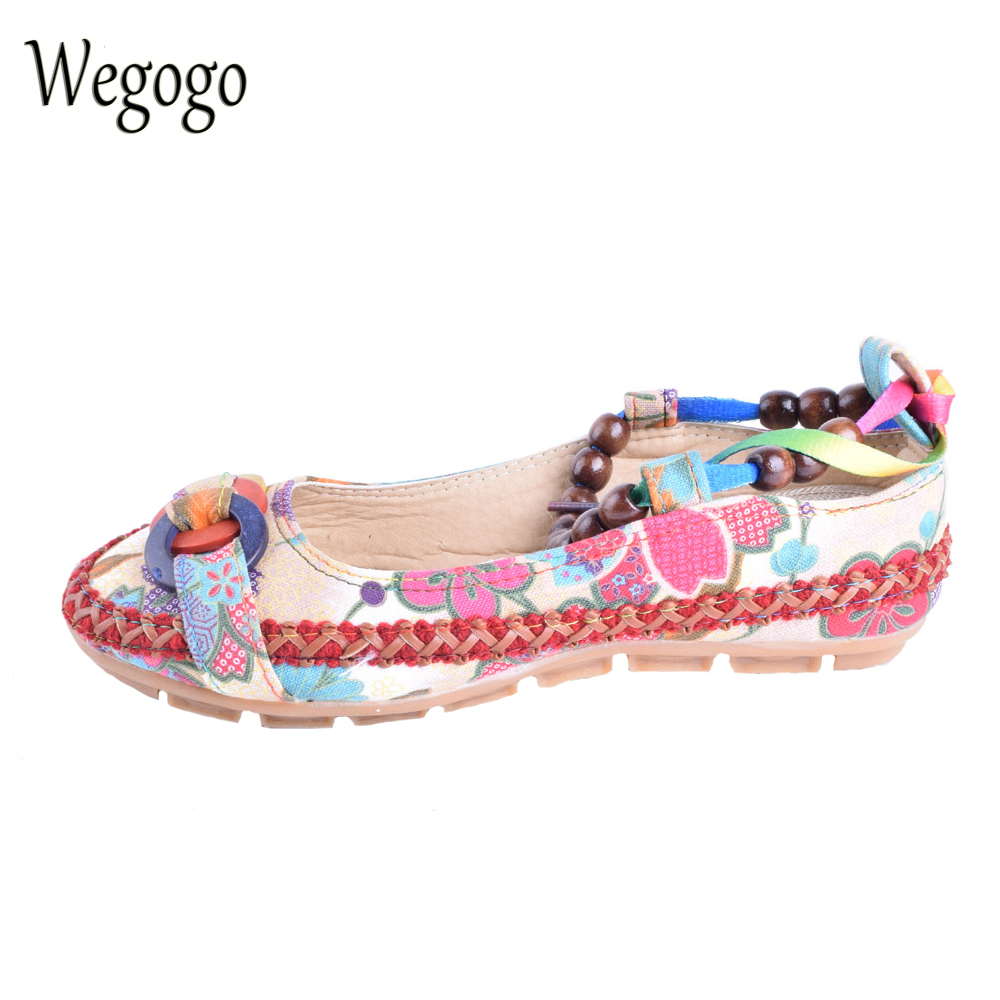 Wegogo Womens Casual Summer Flat Shoes Handmade Beaded Ankle Straps Loafers Zapatos Mujer Retro Ethnic Embroidered Shoes summer models princess womens handmade beaded small wedges with zipper after flip flops