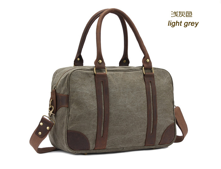 f4a5fb3fb Unisex Vintage Crazy Horse Leather Canvas Men Duffel Bag Leather travel bag  Women Boston tote bag overnight Bag Shipping M312 S-in Travel Bags from  Luggage ...
