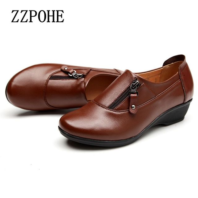 ZZPOHE Spring Fashion leather women shoes mother slope soft bottom anti-slip comfortable middle aged casual shoes Plus Size42 43