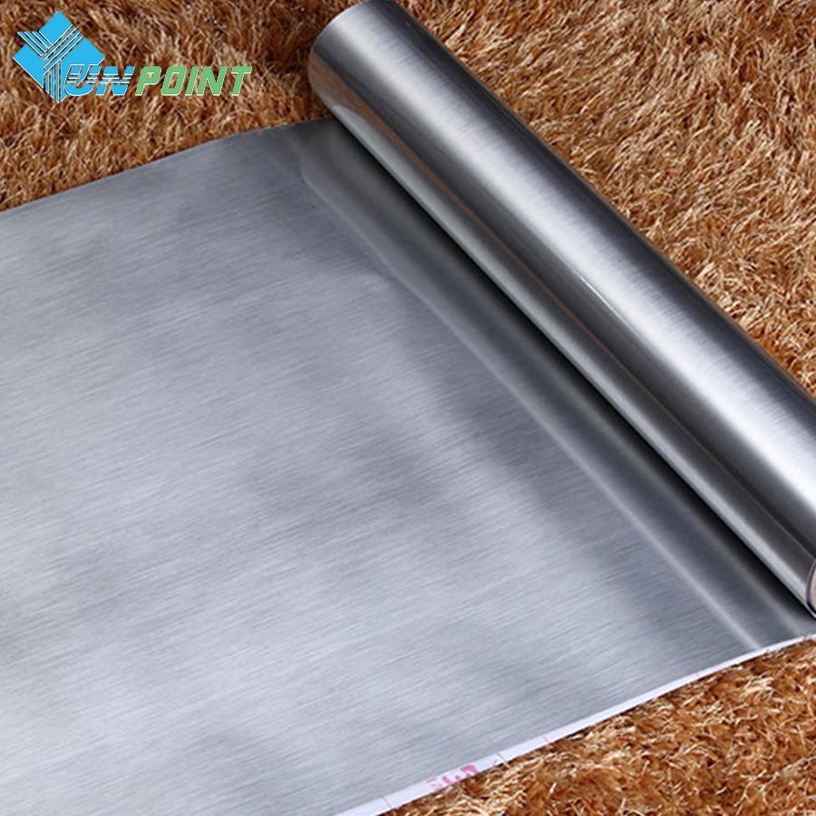 60cmX5m Suya davamlı Gümüşü Fırça Parıldayan PVC Divar Etiketləri Vinil Dekorativ Metal Film Ev Dekorası üçün Öz-özünə yapışan divar kağızı.
