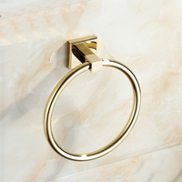 Free punching European minimalist gold copper towel ring racks Bathroom towel bar towel LO55312