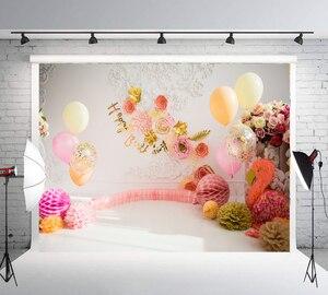 Fondos para fotografía con pasteles de bebé smash 1er cumpleaños, Fondo para habitación de niña, rosa, fiesta de globos, foto de decoración, cabina de accesorios LW-1094