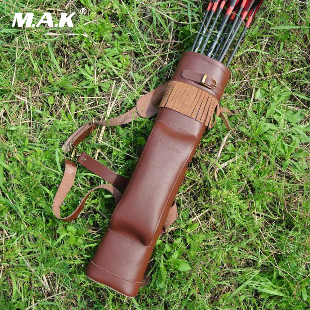Arrow Quiver Cow Leather 53X12 Cm Arrow Bag In Brown For Bow Archery Hunting Shooting