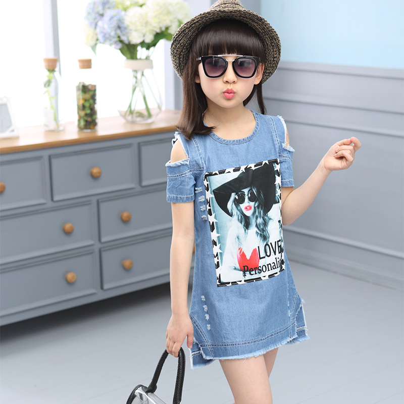 1a7ae53eb60 SONGGUIYING A54 Children Short Sleeve Denim T Shirts Strapless Dresses for Girls  Summer Strapless Dress Pattern Girls Clothing-in Dresses from Mother   Kids  ...