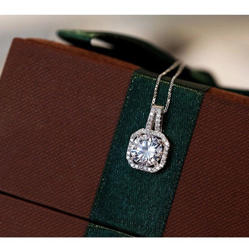 Genuine 925 Sterling Silver Super Shining Square Design Cubic Zircon Pendant Necklaces For Women Bridal Wedding Jewelry 3
