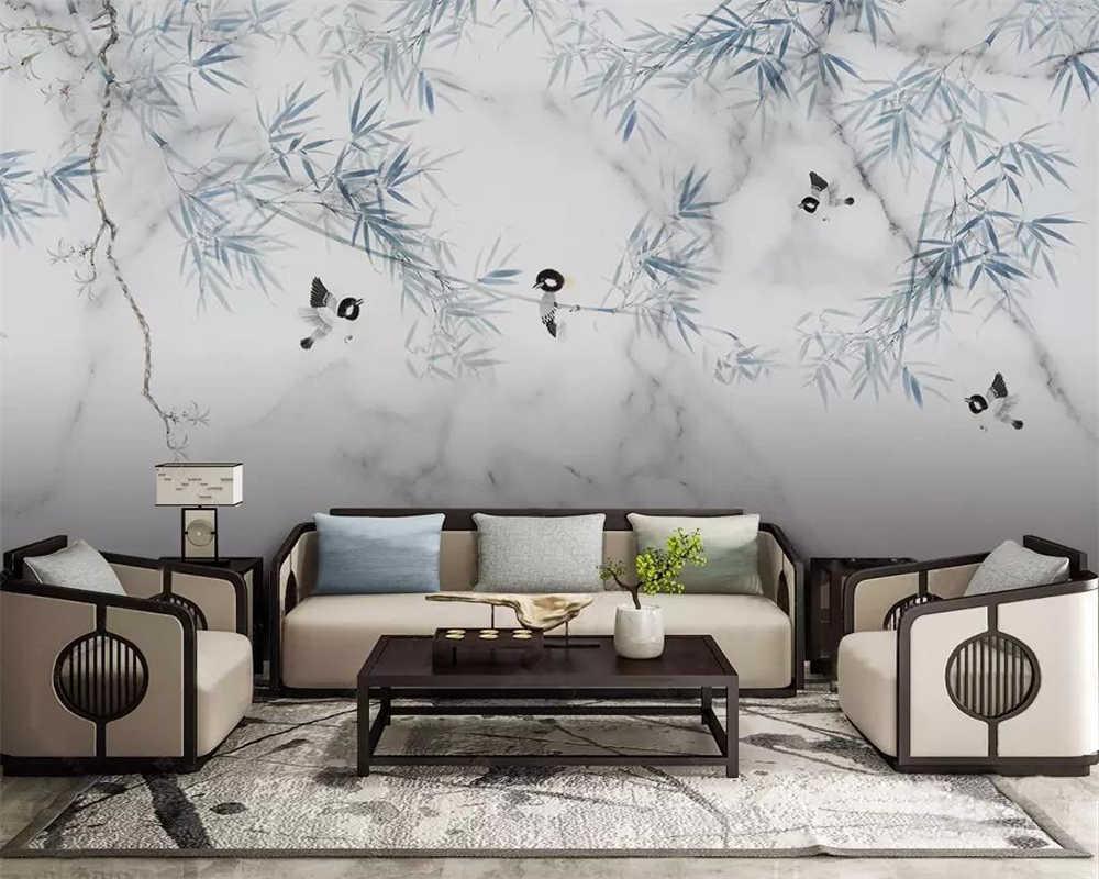 Beibehang מותאם אישית ציורי קיר טפט סיני מודרני השיש דפוס במבוק פרחים וציפורים רקע קיר ציור 3d טפט
