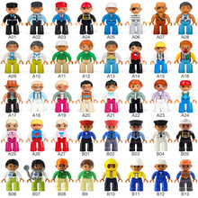 5-50pcs Big Size Building Blocks Character Family Worker Police Action Figures Compatible With Duplo Toy for Kid