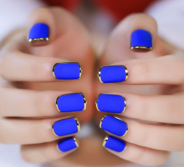 24pcs Matte Blue Color Fake Nail Tips Noble Gold Line Nail Art