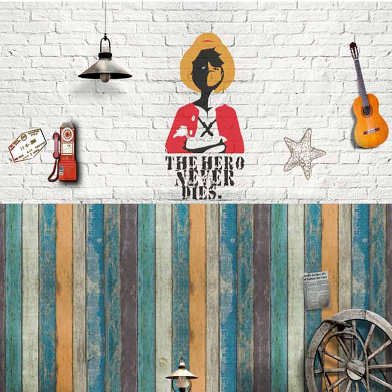 Environment-friendly PVC self-adhesive backing wallpaper antique wooden stripes wall paper 45*100cm