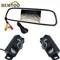 """Bemtoo alta resolución de 4.3 """"Color TFT LCD de Coches Espejo Monitor + 8 LED de Visión Nocturna de Los Vehículos Delanteros/cámara de visión Trasera cámara de reserva"""