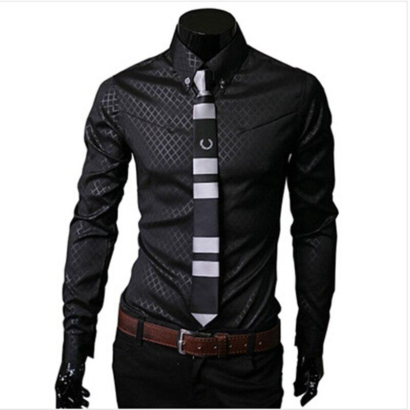 Men shirt long sleeve camisa social masculina casual slim fit mens plaid dress shirts size M