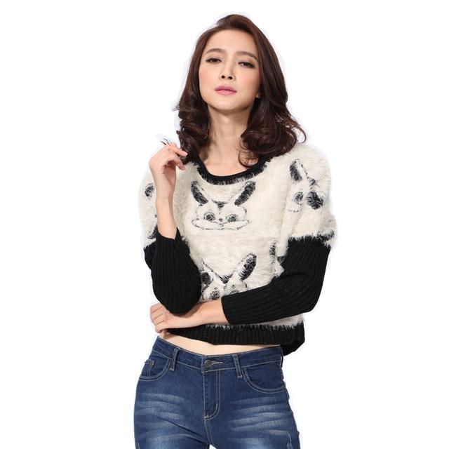 Fall Fashion Women Coats Cropped Top Rabbit Animal Pattern Black