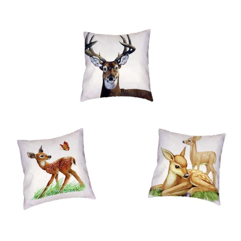 Cute Cartoon Animal Cushion Cover Elk Deer Nature Plant