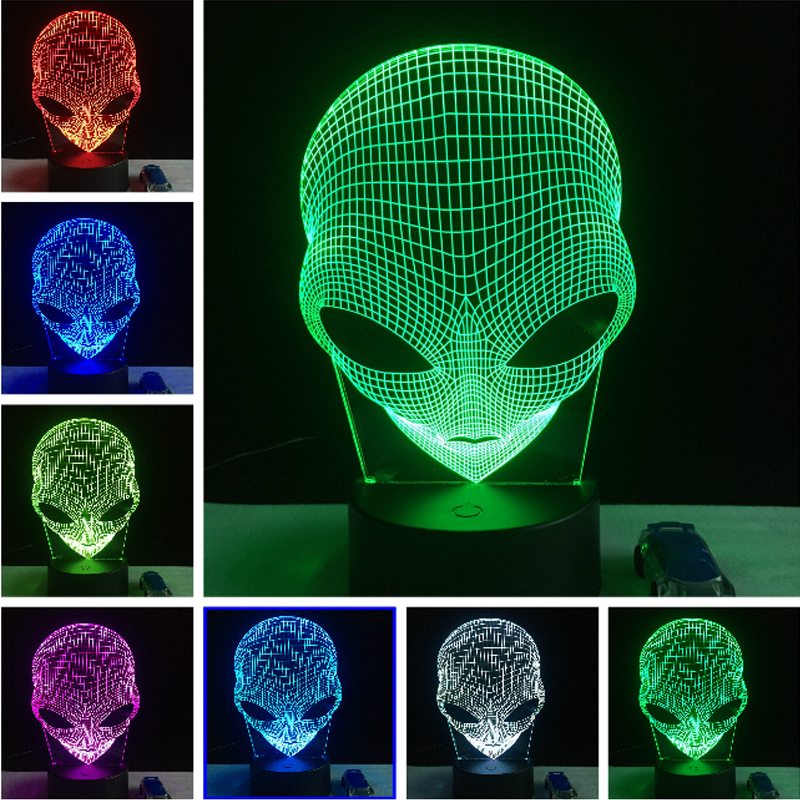 3D illusion Christmas Home Cafe Bar Decoration Alien LED Touch Desk Night Light 7Color Changing Table Lamp  Child New Year Gift цена
