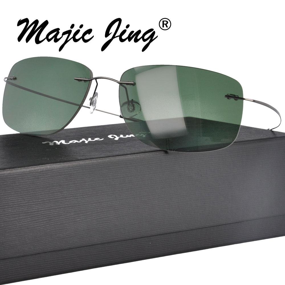 Rimless polarizované sluneční brýle Muži Ženy Ultralight Memory Metal Square Sun Glasses PC001