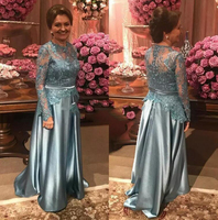 Long Sleeve Sweep Train Appliques Long Formal Women Mother Wedding Prom Party Gowns 2018 Gray Mother Of The Bride Dresses