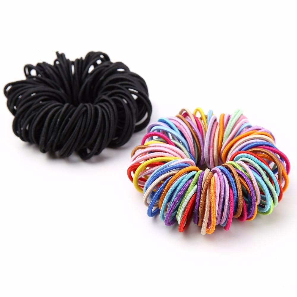 100pcs/lot Girls Elastic Hair Bands Ponytail Holder Rubber Bands Hair Accessories Women Multicolor Tie Gum