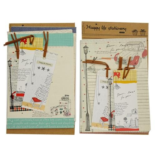 New Hot Sale 8 Sheets Cute Cartoon Lazy Stationery Letter paper, A sheet Cardboard And 3Pcs x Bookmarks Set