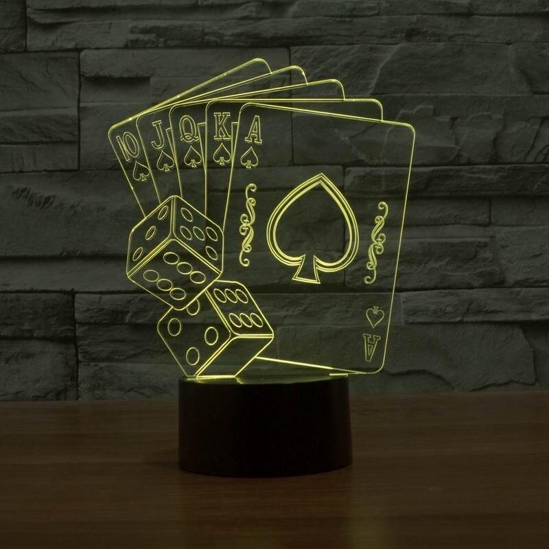 Luzes da Noite luz noturna 3d ilusão dice Item : 7color Led Poker Dice Lamp