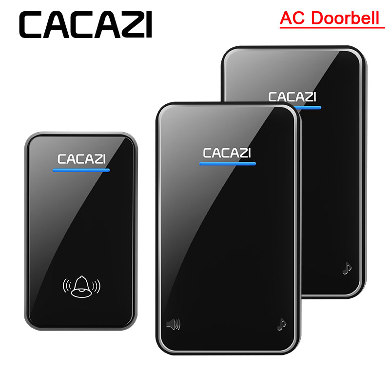 CACAZI A8 Wireless AC Doorbell Newest Waterproof LED 100-240V EU/US/UK Plug Door Bell 300M Remote 48 Rings 6 Volume Door Chime wireless cordless digital doorbell remote door bell chime waterproof eu us uk au plug 110 220v