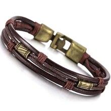 Сплав кожаный браслет наручники плетеный шнур веревка Коричневый Мужской, женский