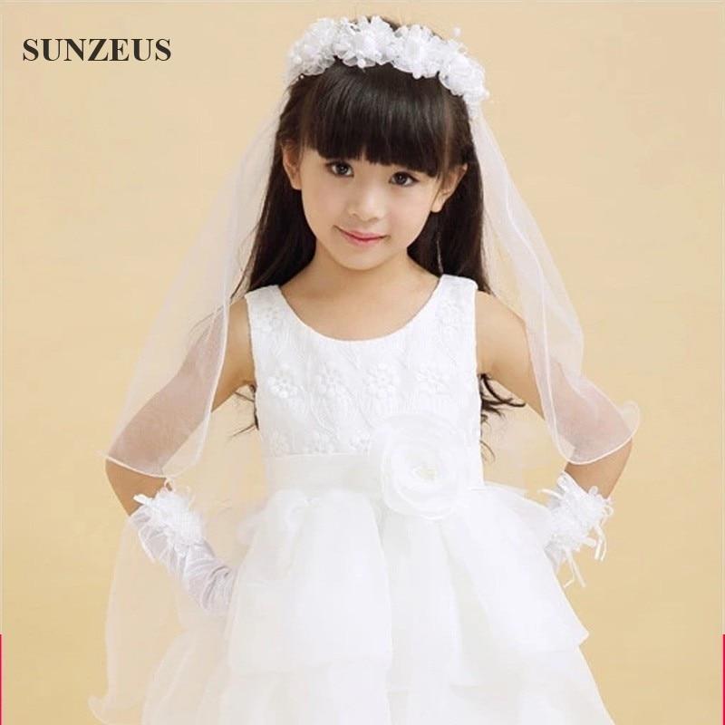 2018 Wedding Veil Long Veils For Children Two-layer Pencil Edge White Pink Hair Accessories For Flower Girls Lace Schleier BV005