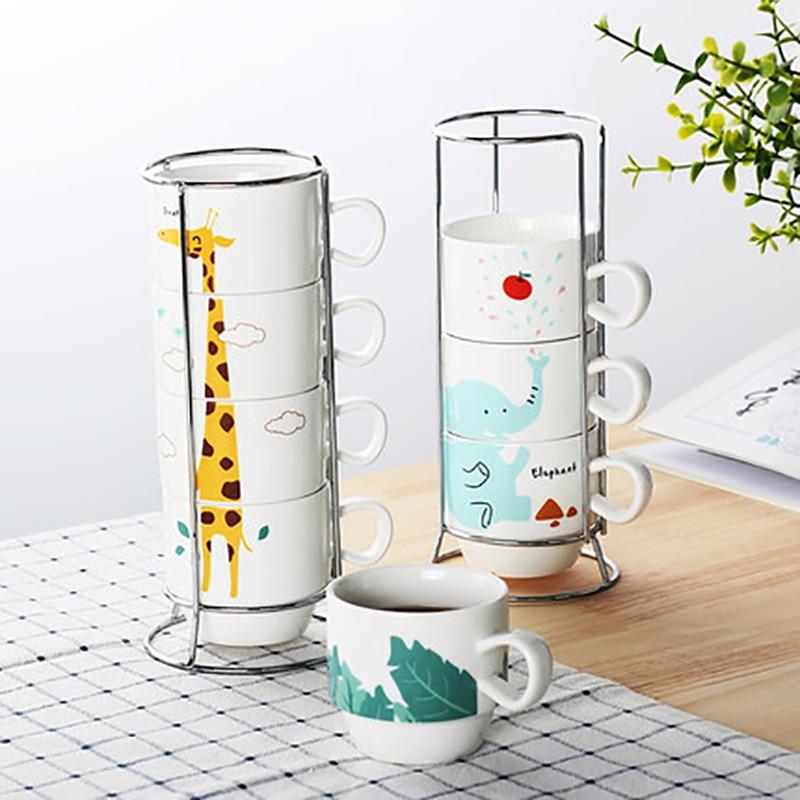 4pcs Couple Parent-child Ceramic Animal Giraffe elephant pattern Hand Painted Cup Set Drinkware For Tea Milk Coffee cup holder