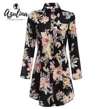 AZULINA Vintage Floral Print Chiffon Shirt Dress Women Spring Summer Long Sleeve Beach Boho Dress Mini