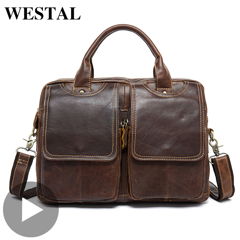 Westal Shoulder Work Business Messenger Office Women Men Bag Genuine Leather Briefcase For Document Handbag Male Female Laptop