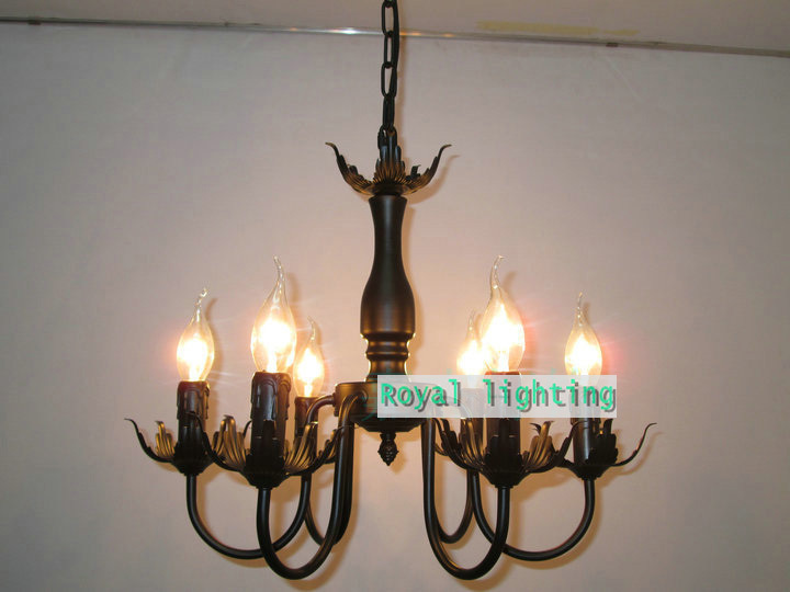 Kitchen antique candle lamp chandelier industrial vintage iron Chandeliers Europe dining room living room kids bar hanging light