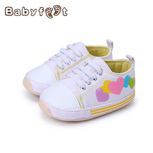 Baby Boys And Girls Canvas Toddler Anti-Slip First Walker Premium Soft Sole Infant White With Heart-Shaped Pattern