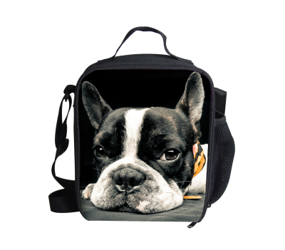 Zipper 3D animal dog lunch bags keep warm thermal food bag for kids insulated shoulder lunchbox adult lancheira picnic bag