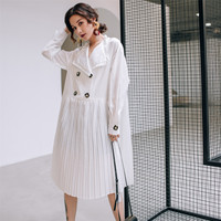 SuperAen Lapel Dress Women Solid Color Wild Casual Spring New 2019 Dress Female Long Sleeve Double Breasted Women Clothing